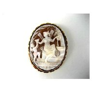 Quality Vintage 14k Cameo With  Art Nouveau Classical Scene