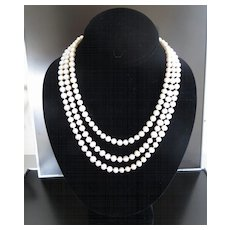 Circa 1920's Lady's 14K Triple Strand Pearl & Sapphire Necklace