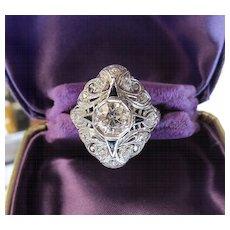 Lady's Art Deco 18K Diamond & Sapphire Ring