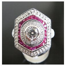 Magnificent Lady's Platinum Diamond & Ruby Ring