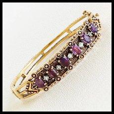 Lady's Vintage 14K Amethyst & Tourmaline Bangle Bracelet