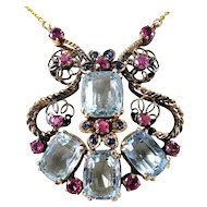 Exceptional Aquamarine - Ruby & Sapphire Rose Gold Retro Necklace