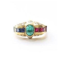 Lady's Vintage Custom 18K Emerald, Sapphire, Ruby & Diamond Ring