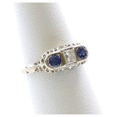 Lady's Vintage 18K Sapphire & Diamond Ring