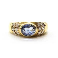 Lady's Vintage Custom 18K Sapphire & Diamond Ring