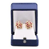 Lady's Vintage 14K Diamond & Ruby Earrings