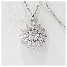 Lady's Vintage Circa 1940's 14K Diamond Sunburst Pendant