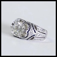 Exceptional Lady's Custom Vintage 14K Diamond & Sapphire Ring