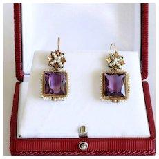 Circa 1890 Lady's 14K Amethyst & Seed Pearl Earrings