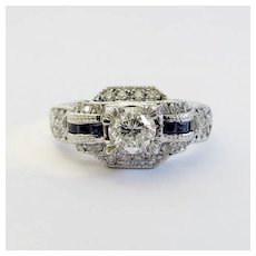 Beautiful Vintage Custom Lady's Diamond & Sapphire Engagement Ring