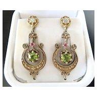 Vintage Lady's 14K Diamond, Peridot & Ruby Earrings