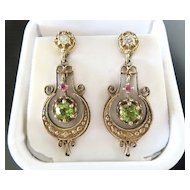 Vintage Lady's 14K Diamond, Peridot & Ruby Earrings