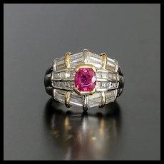 Beautiful Lady's Vintage Platinum 18K Ruby & Diamond Ring