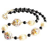 Lady's Vintage Murano Glass & Onyx Necklace