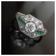 Lady's Platinum Art Deco Diamond & Emerald Ring