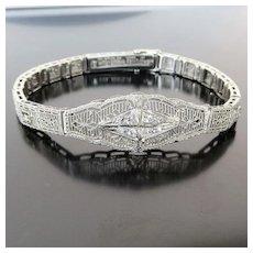 Vintage Lady's Circa 1920's 14K White Gold Diamond Bracelet