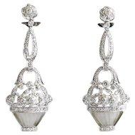 Vintage 1020's 18K Crystal & Diamond Basket Of Flower Earrings