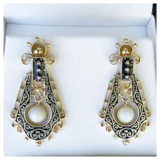 Lady's Circa 1880 Antique 14K Victorian Opal Earrings