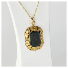 Circa 1900 Lady's 14K Bloodstone Pendant & Chain