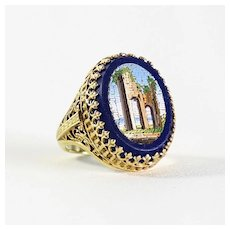 Exceptional Antique 14K Roman Ruin Micro Mosaic Ring