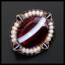 Rare Circa 1890 Art Nouveau Lady's Pearl & Agate Locket Brooch