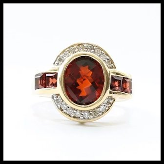 Custom Vintage Lady's 14K Garnet & Diamond Ring