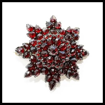 Circa 1900 Lady's Star Shaped Garnet Brooch