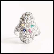 Rare Circa 1900 Lady's Platinum & Diamond Eastern Star Ring