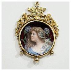 Rare Circa 1890 14K Guilloche Enameled Portrait Pendant