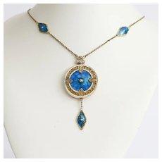 Magnificent Circa 1900 Art Nouveau 14K Enameled Double Locket Necklace