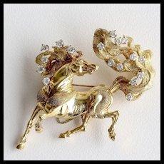 Exceptional Lady's Vintage Custom 14K & Diamond Horse Brooch
