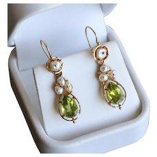 Lady's Antique Circa 1890 14K Peridot & Pearl Earrings