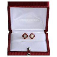 Lady' Vintage 14K Diamond & Ruby Earrings