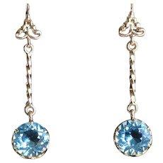 Lady's Vintage 14K Sky Blue Topaz Drop Earrings