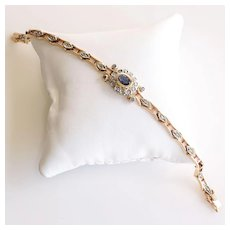 Exquisite Lady's Vintage 14K Sapphire & Rose Cut Diamond Bracelet