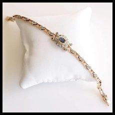 Exquisite Lady's Vintage 14K Sapphire & Rose Cut Diamond Bracelet