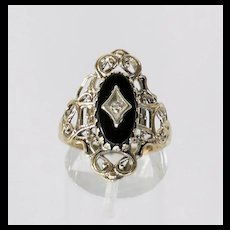 Circa 1920's Lady's Vintage 10K Onyx & Diamond Ring