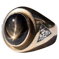Gent's Vintage 14K Star Sapphire & Diamond Ring
