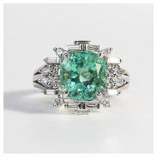 Amazing Vintage 14K Lady's Emerald & Diamond Ring