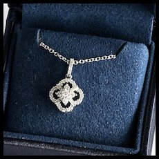 Lady's Vintage 14K Diamond Pendant & Chain