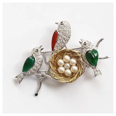 Vintage Lady's 18K Diamond & Pearl Birds With Nest Brooch