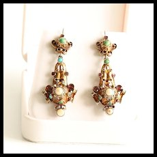 Lady's Circa 1870 18K Victorian Garnet, Pearl & Turquoise Earrings