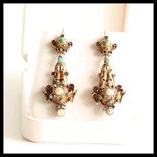 Lady's Circa 1870 18K Victorian Garnet, Pearl & Turquoise Earrings