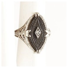 Lady's Vintage 14K Carved Onyx & Diamond Ring