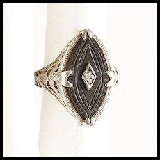 Lady's Vintage 14K Carved Onyx & Diamond Ring