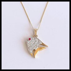 Lady's Vintage 18K Diamond & Ruby Fish Pendant