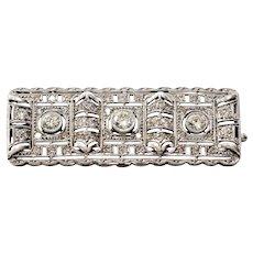 Lady's Circa 1900 Antique Platinum Diamond Brooch