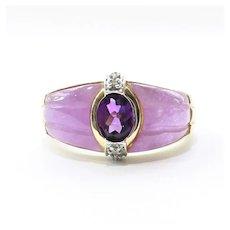 Vintage Custom 10K Lady's Amethyst, Diamond & Lavender Jade Ring