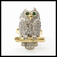Rare Vintage Lady's 18K Diamond & Emerald Owl Ring