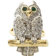 Rare Vintage Lady's 18K Diamond & Emerald Owl Ring